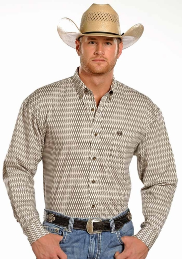 Panhandle Slim Select Mens Long Sleeve Print Button Down Western Shirt - White (Closeout)