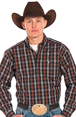 Panhandle Slim Tuf Cooper Long Sleeve Plaid Button Down Western Shirt - Brown (Closeout)