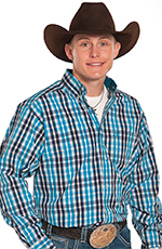 Panhandle Slim Tuf Cooper Long Sleeve Plaid Button Down Western Shirt - Turquoise (Closeout)