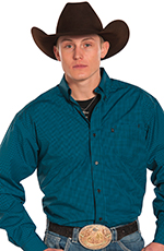Panhandle Slim Tuff Cooper Long Sleeve Check Button Down Western Shirt - Turquoise (Closeout)