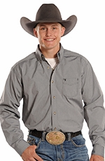 Panhandle Slim Tuf Cooper Long Sleeve Dobby Dot Button Down Western Shirt - Grey