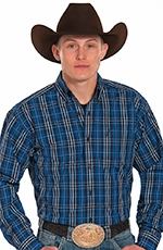 Panhandle Slim Tuf Cooper Long Sleeve Plaid Button Down Western Shirt - Blue (Closeout)