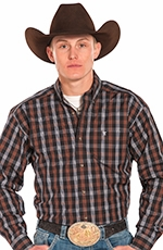 Panhandle Slim Tuf Cooper Long Sleeve Plaid Button Down Western Shirt - Brown