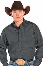 Panhandle Slim Tuf Cooper Long Sleeve Print Button Down Western Shirt - Black