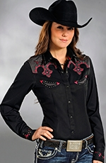 Panhandle Slim Womens Twisted Cactus Retro Top - Black
