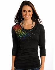 Panhandle Slim Women's 3/4 Sleeve Dreamcatcher Top - Charcoal