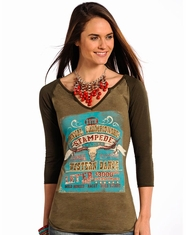 Panhandle Slim Women's 3/4 Sleeve Stampede Printed Top - Green