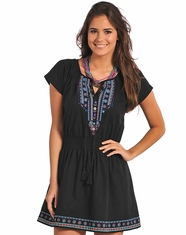 Panhandle Slim Women's Cap Sleeve Embroidered Dress - Black