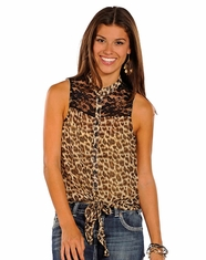 Panhandle Slim Women's Chiffon Lace Top - Taupe