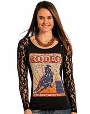 Panhandle Slim Women's Lace Sleeve Rodeo Tee Shirt - Black