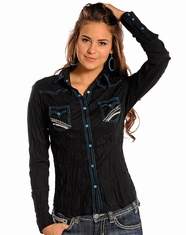 Panhandle Slim Women's Long Sleeve Crinkle Wash Snap Shirt - Black