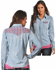 Panhandle Slim Women's Long Sleeve Embroidered Chambray Shirt - Light Blue