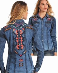 Panhandle Slim Women's Long Sleeve Embroidered Chambray Snap Shirt - Blue