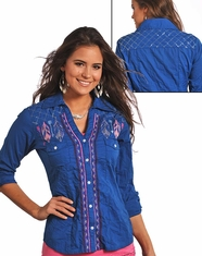 Panhandle Slim Women's Long Sleeve Embroidered Crinkle Wash Button Down Shirt - Royal