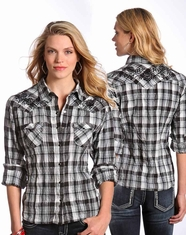 Panhandle Slim Women's Long Sleeve Embroidered Plaid Snap Shirt-Black