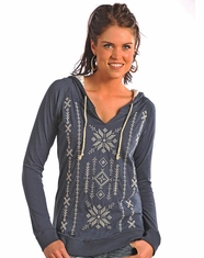 Panhandle Slim Women's Long Sleeve Embroidered Pull Over Hoodie-Blue (Closeout)