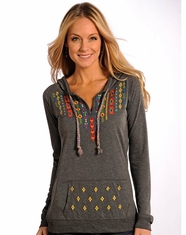 Panhandle Slim Women's Long Sleeve Embroidered Pullover Hoodie - Grey