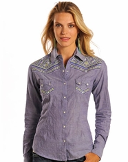 Panhandle Slim Women's Long Sleeve Embroidered Snap Shirt- Purple