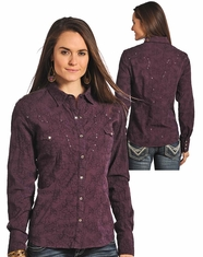 Panhandle Slim Women's Long Sleeve Embroidered Snap Shirt - Wine