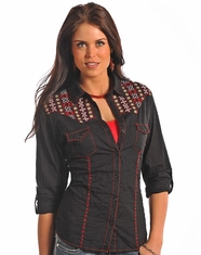 Panhandle Slim Women's Long Sleeve Embroidered Solid Snap Shirt-Black (Closeout)
