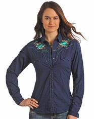 Panhandle Slim Women's Long Sleeve Embroidered Solid Snap Shirt-Blue