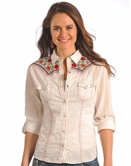 Panhandle Slim Women's Long Sleeve Embroidered Solid Snap Shirt-Cream