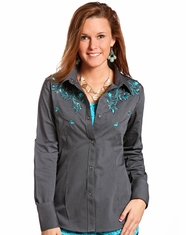 Panhandle Slim Women's Long Sleeve Embroidered Solid Vintage Dobby Snap Shirt-Grey