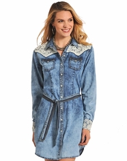 Panhandle Slim Women's Long Sleeve Lace Chambray Dress - Blue