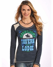 Panhandle Slim Women's Long Sleeve Moonlight Tavern Tee Shirt - Navy