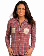 Panhandle Slim Women's Long Sleeve Plaid Crinkle Wash Button Down Shirt - Red