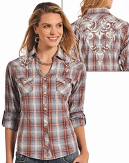 Panhandle Slim Women's Long Sleeve Plaid Embroidered Shirt - Rust