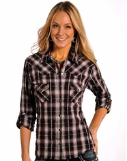 Panhandle Slim Women's Long Sleeve Plaid Snap Shirt - Black