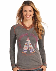 Panhandle Slim Women's Long Sleeve Printed Frontier Top - Grey