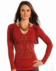 Panhandle Slim Women's Long Sleeve Studded Fringe Phoenix Top - Red