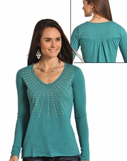 Panhandle Slim Women's Long Sleeve Studded Top - Turquoise
