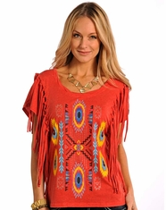 Panhandle Slim Women's Short Sleeve Fringe Aztec Top - Red