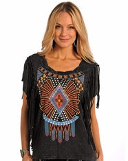 Panhandle Slim Women's Short Sleeve Fringe Drop Shoulder Printed Top - Black