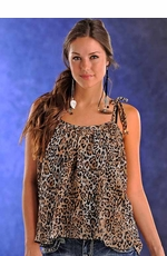 Panhandle Slim Womens Leopard Print Sleeveless Top - Brown or Gray