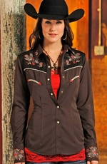 Panhandle Slim Retro Womens Long Sleeve Rio Vista Western Shirt - Brown