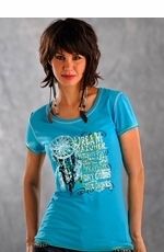 Panhandle Slim Womens Short Sleeve Dream Catcher Tee Shirt - Turquoise (Closeout)