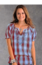 Panhandle Slim Womens Short Sleeve Plaid Peasant Top with Embroidery - Blue/Red (Closeout)