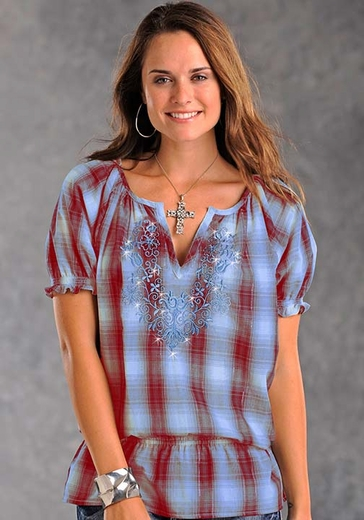 Panhandle Slim Womens Short Sleeve Plaid Peasant Top with Embroidery - Blue/Red
