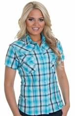 Panhandle Slim Womens Short Sleeve Plaid Snap Western Shirt - Blue