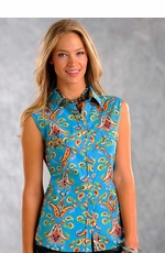 Panhandle Slim Womens Sleeveless Paisley Western Snap Shirt - Bright Blue (Closeout)