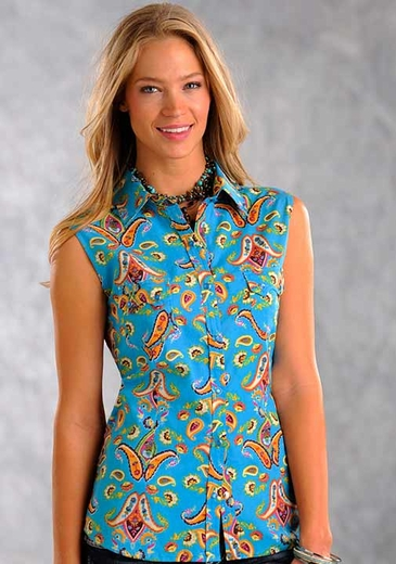 Panhandle Slim Womens Sleeveless Paisley Western Snap Shirt - Bright Blue