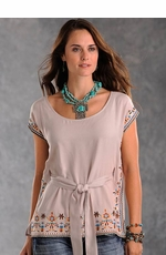 Panhandle Slim Womens Solid Pullover Tunic with Embroidered Border - Beige (Closeout)