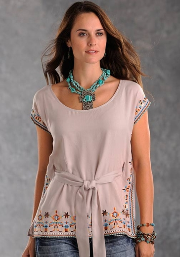 Panhandle Slim Womens Solid Pullover Tunic with Embroidered Border - Beige