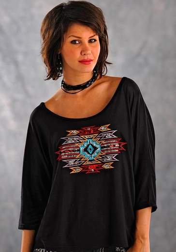 Panhandle Slim Womens Southwestern 3/4 Boat Neck Tee Shirt - Black