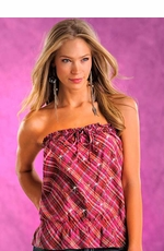 Panhandle Slim Womens Studded Plaid Tube Top - Hot Pink (Closeout)