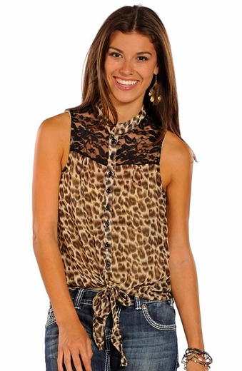 Panhandle Slim Womens Chiffon Lace Top - Taupe